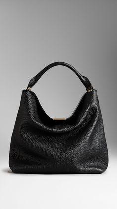 Medium Signature Grain Leather Hobo Bag   Burberry