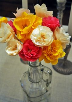 DIY crepe paper streamer flowers with beaded centers