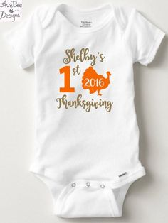 Personalized First Thanksgiving Onesie - Baby Toddler Tie or Heart, Onesie or Shirt