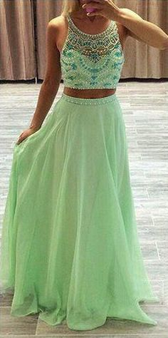 Beading A-line Chiffon Two Pieces Prom Dresses