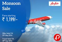 MakeMyTrip is offering AirAsia Monsoon Sale on Domestic Fares starts Rs.1199. Book Validity: Till 29 May'16, Travel Validity: Till 30 Sep'16. Valid for new purchases only.  http://www.paisebachaoindia.com/airasia-monsoon-sale-on-domestic-fares-starts-rs-1199-makemytrip/