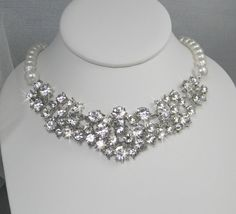 Chunky Bridal Necklace Swarovski crystal and by CrystalAvenues, $105.00