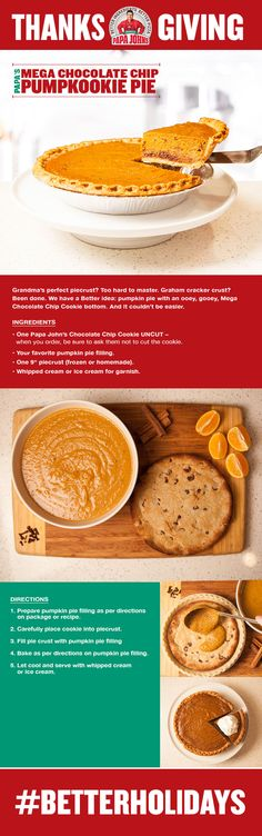 A quick and easy Thanksgiving recipe for a Mega Chocolate Chip Pumpkookie Pie - a new spin on the traditional pumpkin pie dessert.