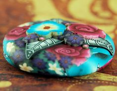 Polymer Clay Dimensional Circle Focal Bead by iKandiBeads on Etsy