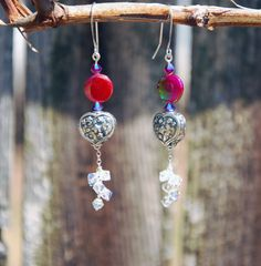 Handmade Mother of Pearl, Swarovski and Sterling Heart Earrings, swarovski earrings, silver earrings, silver heart earrings, star earrings - pinned by pin4etsy.com