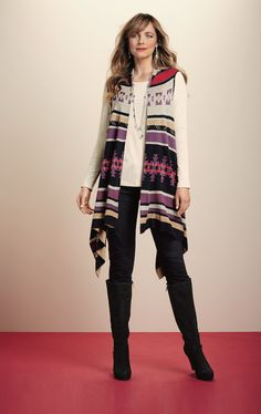 This Aztec print vest also doubles as a scarf! #FallFind #SteinMart