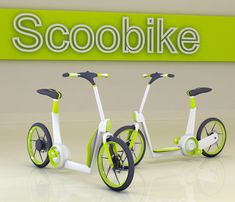 Skoobike. Scooter/bike. As you might have guessed by the name, the Scoobike combines push and pedal power to form one perfectly minimal and super-accessible system of public, hybrid bikes for getting around the urban jungle in a jiffy. Pedal-powered LED lights provide added safety beyond generic reflectors and an adjustable seat means one size fits all!