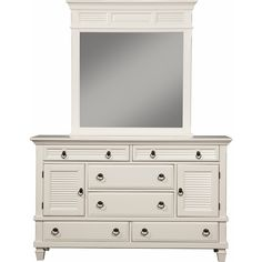 Winchester 2 Cabinet & 6 Drawer Dresser in White Finish Pine #dynamichome #dresser #bedroomfurniture #white #shutter #coastal #nautical #beachy #style #decor #homedecor #interiors #cottage
