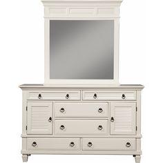 Winchester 2 Cabinet & 6 Drawer Dresser in White Finish Pine #dynamichome #dresser #bedroomfurniture #white #shutter #coastal #nautical #beachy #style #decor #homedecor #interiors #cottage
