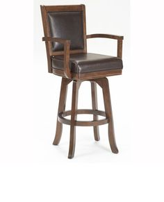 leather bar stool with a back that swivels