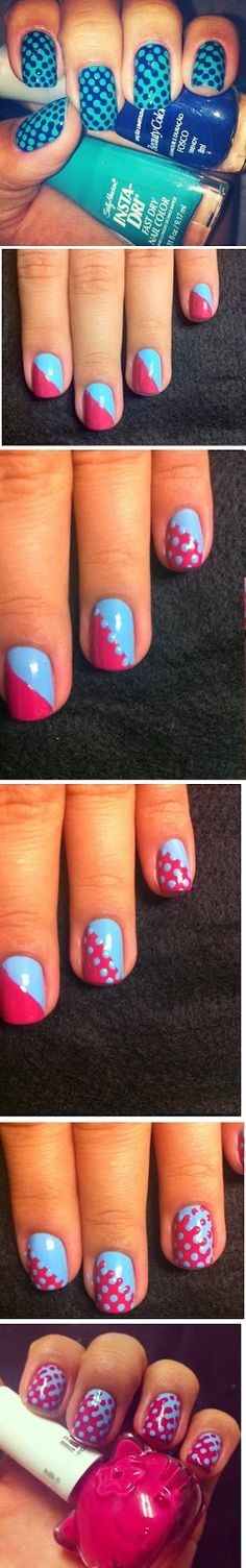 How to : Lovely Combination Nails Art Design Tutorials # Step by Step / LoLus Nails Fashion