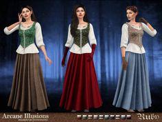Die Sims, Sims Cc, Fantasy Costumes, Velvet Skirt, Prom Dresses, Formal Dresses, Red Riding Hood, Little Red