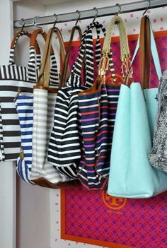 Hang purses in closet with shower curtain hooks