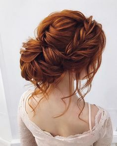 front braided + messy updo hairstyle ideas, wedding hairstyle . bridal hairstyles ,prom hairstyles #weddinghair #hairstyleideas #braids braid hairstyles