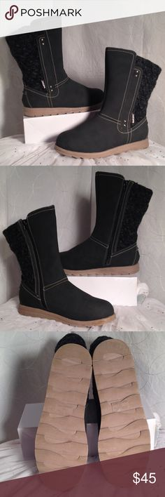 Muk Luks Fleece lined Winter Boots EUC! My daughter worn them ONCE! They are Dk Grey not black. They have a Full inside zipper & beautiful Beige stitching accent. Look like Suede & Fleece but aren't( zoom pic # 5) Muk Luks Shoes Winter & Rain Boots