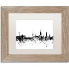 Trademark Fine Art Stockholm Sweden Skyline B Canvas Art by Michael Tompsett, White Matte, Birch Frame, Size: 16 x 20, Gray