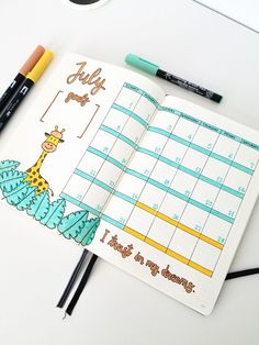 My monthly log for July (bullet journal).
