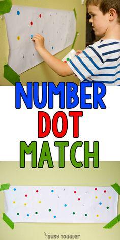 Number Dot Match: A Preschool Math Activity - Busy Toddler Number Games Preschool, Number Recognition Activities, Preschool Lessons, Preschool Math, Toddler Preschool, Number Games For Preschoolers, Kindergarten, Educational Activities For Preschoolers, Toddler Activities