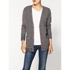 Suss Herringbone Cardigan Sweater ($339) found on Polyvore