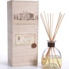 "REPIN, Save for later! ~ Diffuser with wood stem and wine box - Bottle Dimensions: 2.5"" x 2.5"" x 8"" Box Dimensions: 4"" x 4"" x 8.75 Oil Volume: 100 ml // 3.4 oz Fragrance Notes: Sparkling Citrus, Coconut, Tamarind, Juicy Pine"