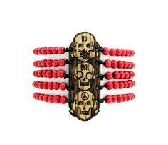 GoodWoodNYC - No Evil Wood Bracelet Zebra Red, $30.00 #woodenbracelet #woodbracelet #goodwoodnyc #Woodjewelry #beadedbracelet