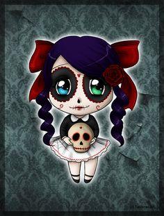 Skull Candy Chibi by SavanasArt Cartoon Drawings, Cartoon Art, Cartoon Illustrations, Sugar Skull Artwork, Sugar Skulls, Voodoo Doll Tattoo, Los Muertos Tattoo, Skeleton Drawings, Day Of The Dead Art