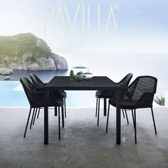 CANE-LINE black woven outdoor dining chair, stackable | € 280