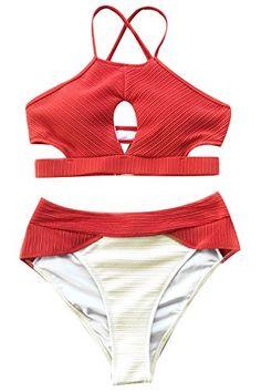 b0fefe6cf505d Wowfashions Fashion Women¡¯s Coast Road Tank High-Waisted Bikini Set  Swimsuit Beach Swimwear Bathing Suit