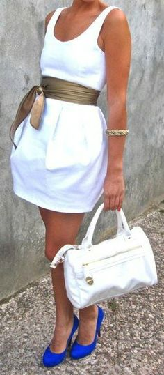 White Dress + Cobalt Pumps