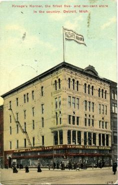 S.S. Kresge five and dime on the corner of Woodward Ave. and State St., Detroit, 1915. (from the Detroit Historical Society Postcard Collection)