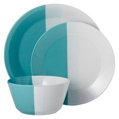 Room Essentials�?� Tri-Band 12 Piece Dinnerware Set
