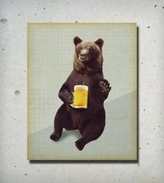 Bears Love Beer Wood Block