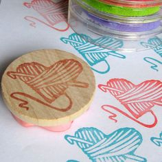 Yarn Heart with Crochet Hook - Hand Carved Rubber Stamp  LOVE IT