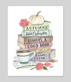 Autumn & Books Print Book Art Illustrated Art by LilyandVal