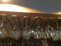 Copper pipe wine glass holder