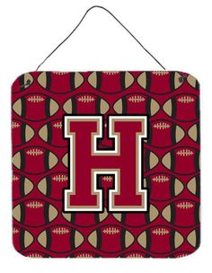 Letter H Football Garnet and Gold Wall or Door Hanging Prints CJ1078-HDS66