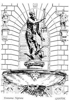 The most characteristic point.... Neptune's fountain / Das Kennzeichen von Danzig - der Neptunbrunnen Danzig, Fountain, Tours, City, Anime, Number Plates, Water Fountains, Cities, Cartoon Movies