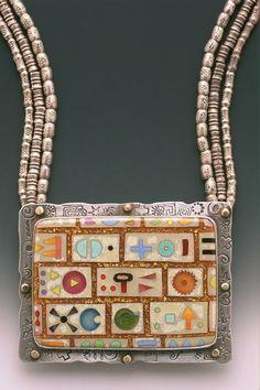 Necklace   Linda Lundell.  'Sacred Symbols'.  Fine and stamed sterling silver, cloisonne enamel and silver Bali beads.