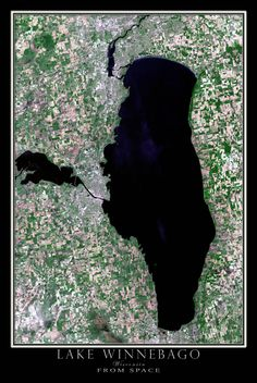 Lake Winnebago Wisconsin Satellite Poster Map
