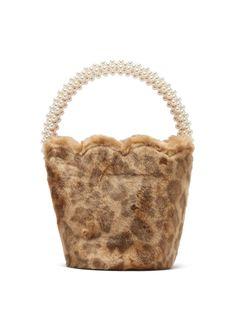 Verity leopard-print faux fur bucket bag by Shrimps Big Bags, Cute Bags, Fall Bags, Fashion Sites, Leather Gifts, Straw Bag, Bucket Bag, Messenger Bag, Faux Fur