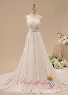 Custom Sexy new arrived modest simple A line long white/Ivory backless one shoulder Wedding Dress prom evening dress Bridal Gown plus size