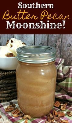 This butter pecan moonshine taste just like the ice cream! It's amazing, but remember - this is only for adults! As many of you know I've been sharing quite a few moonshine recipes, since mid summer. Since sharing my first moonshine recipe, the margarita Homemade Liquor, Moonshine Recipes Homemade, Pecan Pie Moonshine Recipe, Homemade Alcohol, Moonshine Drink Recipes, Moonshine Kit, Mojito, I Heart Recipes, Liqueurs