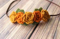 Fall felt flower garland headband - baby flower headband - newborn/baby/toddler headband - photo prop