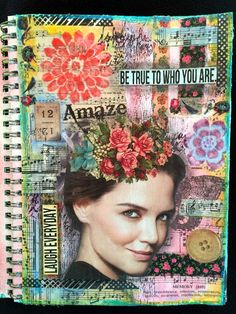 Mixed Media Art Journal Page With Magazine People