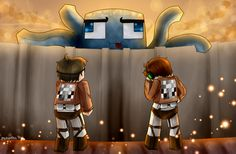 """Attack On Minecraft by PsychoPathie on DeviantArt   Deadlox is like """"Why... Just why.""""  Sky is like are """"Kidding me."""""""