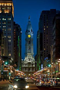 Broad Street nightlife leading to City Hall, Philadelphia, Pennsylvania, US