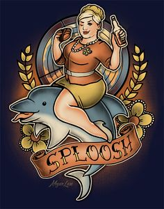 Get this Archer Pam Poovey t-shirt featuring her riding her dolphin along with one of her favorite quotes, sploosh. Archer Pam, Archer Tv Show, Pam Poovey, Jouer Au Foot, Sterling Archer, Geek Girls, Geek Out, Nerdy, Tatoo