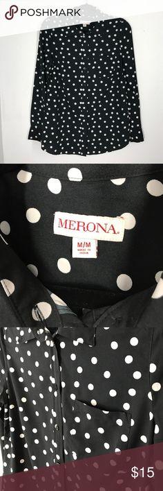 Merona black white polka dot button down sz M This Merona top is from Target. It is a size medium and runs true to size. It is like new. Black with white polka dots. Very clean! Merona Tops Button Down Shirts