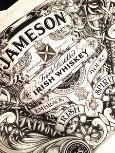 Jameson-IMC.    Gives it a old classy look which is what whiskey drinkers like