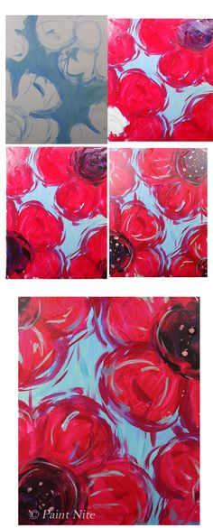 Big Red- SUPER Easy Colors: Ultra. blue, Red, Yellow, White, Black Brushes: Big flat, med. Round Note- for the centers I start with a purple and then embellish with a few black brushstrokes. This adds contrast without going overboard with the black paint. Diy Painting, Painting & Drawing, Wine And Canvas, Paint And Sip, Art Party, Learn To Paint, Art Plastique, Art Techniques, Art Tutorials